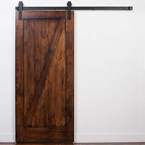 Stain and Glaze Unassembled Door with Industrial Hardware Black Brown Clear Barn Left Sided Right Sliding Metal…