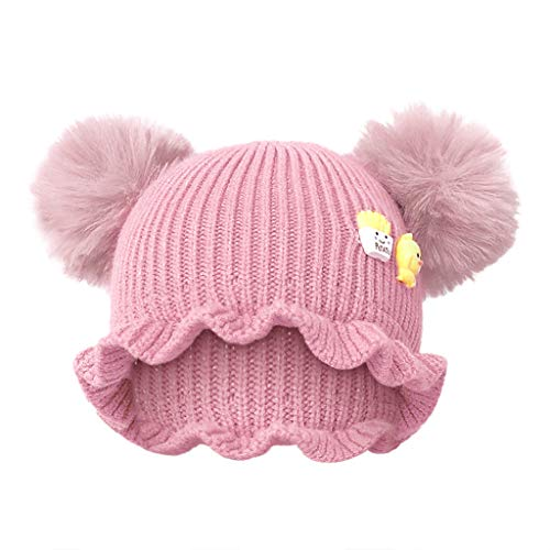Kids Knit Beanie Cap Cute Yellow Duckling Chunky Stretch Knitted Skully Beanie with Double Pompoms Soft Cuffed Adorable Trendy Hat Snow Ski Bobble Cap Halloween Christmas Boys Girls Best Gift