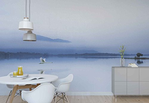 Photo wallpaper wall mural - Lake Flying Swan Mountain Peak Mist - Theme Lakes - XL - 12ft x 8ft 4in (WxH) - 4 Pieces - Printed on 130gsm Non-Woven Paper - 1X-1254693V8 ()