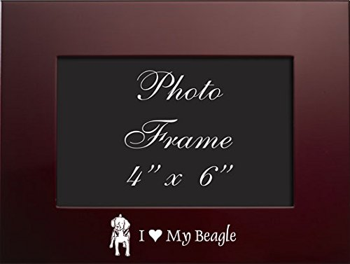 4x6 Brushed Metal Picture Frame-I love my Beagle-Burgundy