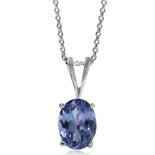 1.32ct. Genuine Tanzanite 925 Sterling Silver Solitaire Pendant w/ 18 Inch Chain Necklace (Tanzanite Pendant)