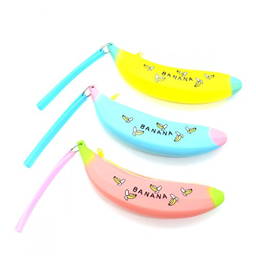 HUELE 3 Pack a Set Lovely Silicone Portable Banana Desigh Pencil Case Coin Bag Key Pouch Lovely Coin Bag