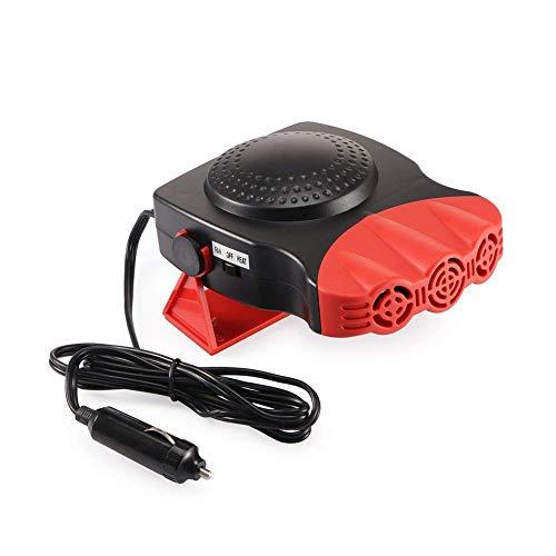 Portable Car Ceramic Heater Cooling Fan 3-Outlet Defroster Defogger Window Screen Demister Hot Warm 12V 150W (Red)
