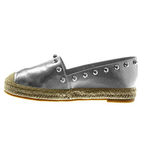 Ancho Cm Slip Tachonado Moda Angkorly on Plata 2 Zapatillas Cuerda Mujer Perla 5 Alpargatas Tacón qFHwxvpwA