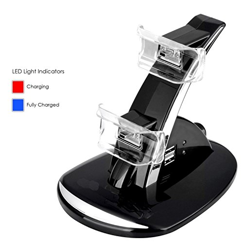 KingPow LED 2 Port Dual Controller Charger Dock Station USB Hub Power Stand for PS3 Wireless Controller