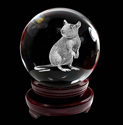 IFOLAINA Crystal Glass Ball 3D Laser Engraving Chinese Zodiac Signs Rat Charm Home Decoration with Wooden Stand 80mm - 3d Laser Crystal Figurine
