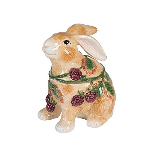 Fitz and Floyd 21-092 Blackberry Rabbit Cookie Jar, (Adorable Vintage Porcelain)