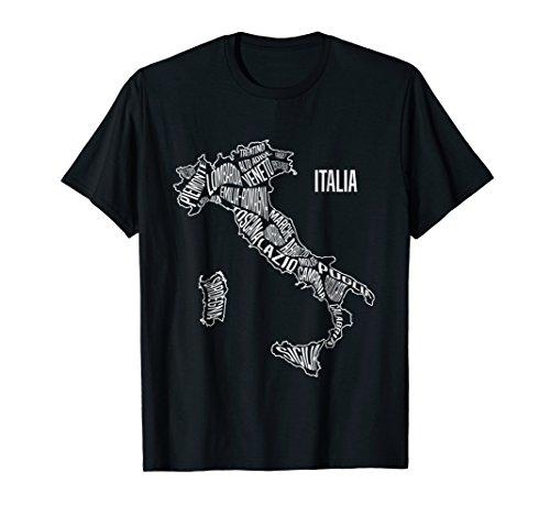Italy t shirt map regions Italian souvenir clothing