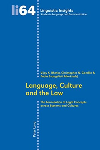 Language, Culture and the Law: The Formulation of Legal Concepts across Systems and Cultures (Linguistic Insights) by Peter Lang AG, Internationaler Verlag der Wissenschaften