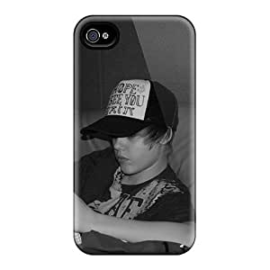 Tpu Case Cover For Iphone 4/4s Strong Protect Case - Justin Bieber Reading Design