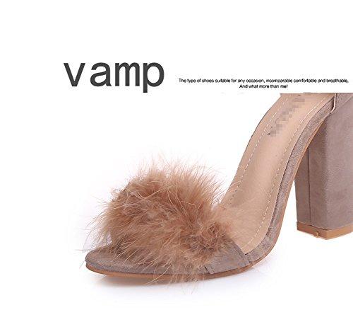 Serie Zhhzz Huecos hebilla Sexy Zapatos Clásica Color Fiesta sandalias Y Redonda Boda Mujer Tacones Puro Punta Formal Marrón Pelo De Liangxie Confort Con S1pHx