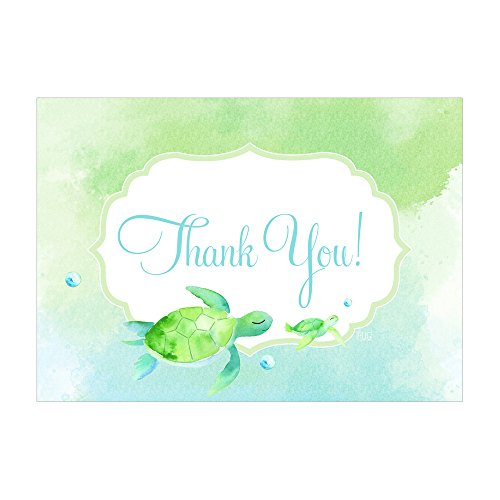 Set of 12 Thank You Notes and Envelopes with Nautical Coastal Sea Turtles Beach CTY003
