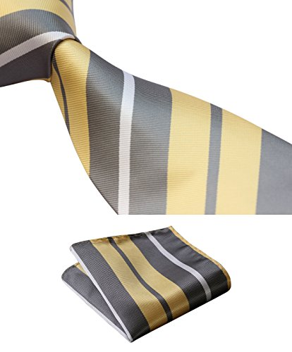 Handkerchief Stripes Necktie - HISDERN Extra Long Stripe Tie Handkerchief Men's Necktie & Pocket Square Set (Yellow & Gray)