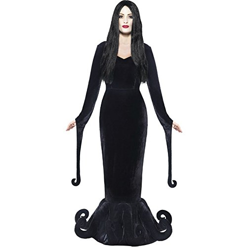 Smiffy's Women's Morticia Addam Family Gothic Halloween Costume Women: 12-14 Black (Wednesday Addams Outfit)