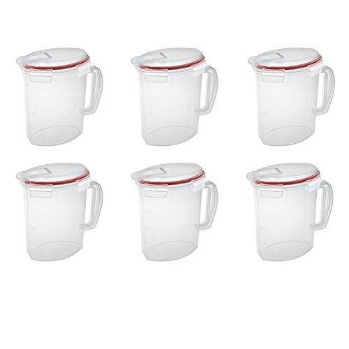 - Sterilite 03706606 Ultra-Seal 2.2 Quart Pitcher, Clear Lid and Base with Rocket Red Gasket, 6-Pack
