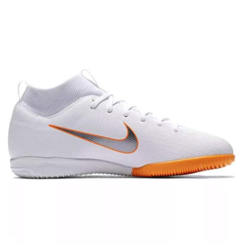 (Nike Jr Superflyx 6 Academy GS Dynamic IC Indoor Soccer Shoes-White Orange Size: 2.5Y)
