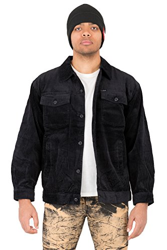 Vibes Mens Long Sleeve Six Wale Corduroy Flap Pockets Trucker Jackets