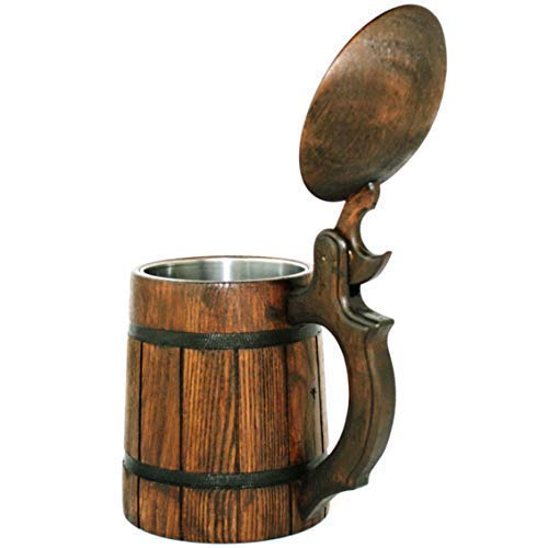 Cute Man Cave Decor Viking Ale Mead Dad Tankard Handle Wooden Beer Mug Men Birthday Anniversary Gifts Pint Wood Stein Party Accessories Funny Fathers Day Tumbler Craft IPA Beer Drinking Cup