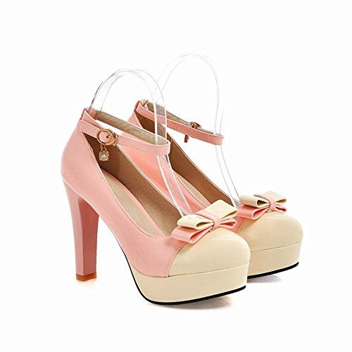 Carolbar High Heel Bow Beige Chic Court Assorted Color Shoes Platform Women's TwZrqaTn