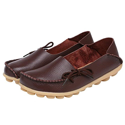 On Shoes Loafers Brown Flats Moccasins Casual Women's Slip Driving Leather WYSBAOSHU w4qxzXpE