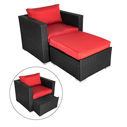 Outdoor Sofa Furniture Black PE Wicker Lounge Chair with Ottoman Sectional Conversation Set, Infinitely Combination Cushion Wicker Patio Sofa Sets (Red With Chair Ottoman)
