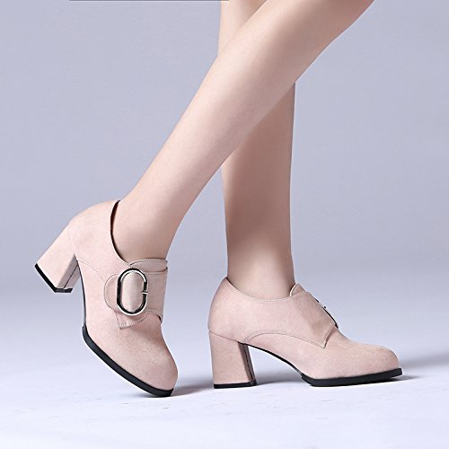 Retro Shoes Rough Round Shoes Heel to 35 High The Shoes Catch Woman Head Beige Fashion A Track zdAwqq6
