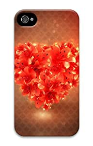 iphone 4 case sparkly covers Red Heart Flowers 3D Case for Apple iPhone 4/4S