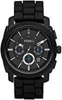 Fossil Machine chronograph men's black dial silicone watch FS4487