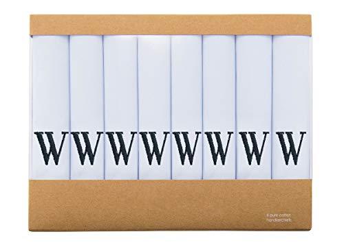 Retreez 8 Piece Pure Cotton Initial Monogrammed Men's Handkerchiefs Hanky Gift Box Set, Christmas gift - Set W Initial