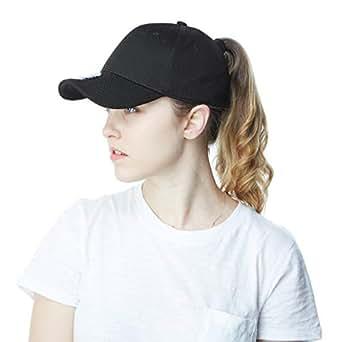Ponytail High Bun Stretch Fit Mesh Quick Dry Hat Ponycaps Structured Baseball Cap (Black)