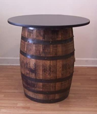 Whiskey Barrel Table With 36u0026quot; Black Table Top Reversible To Mahogany