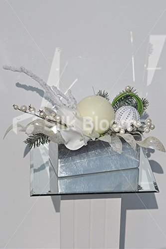 Lush White Lilies Baubles Twigs And Candle Trough Vase Display