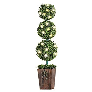 Lighted 3-Tier Boxwood Topiary with Faux Wooden Planter - For Indoor or Outdoor Decorative Accent 3