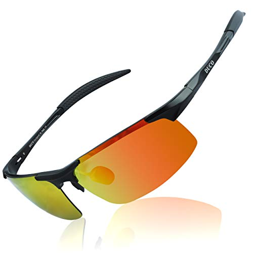 DUCO Mens Sports Polarized Sunglasses UV Protection Sunglasses for Men 8177s (Black Frame Orange ()