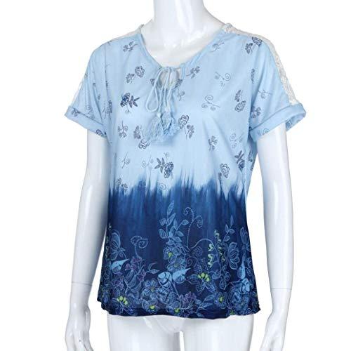 Gradient Sky lgant pissure Blue Style Houppe Courtes Col Fleurs Branch Rond Et Casual Femme Couleur Mode Dentelle Haut Shirts Bandage Tshirt Shirt Modle BoBoLily T Spcial Manches Impression CqFzp