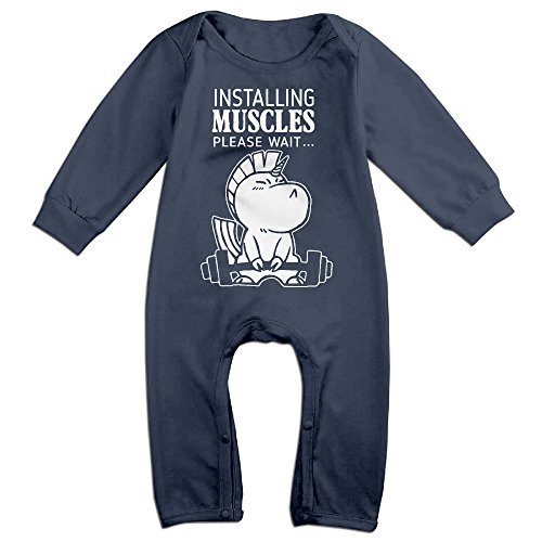 Baby Infant Romper Installing Muscles Please Wait Long Sleeve Bodysuit Outfits Clothes Navy 12 Months - Wonder Woman Petite Costume