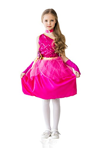 Kids Girls Costume Princess Fairy Pink Rose Sugar Choker Birthday Party Dress Up (3-6 years, (The Shining Halloween Costume Ideas)