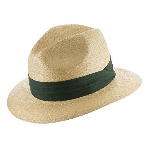Ultrafino Monte Cristo Straw Fedora Panama Hat Natural with Green Hatband 7 - Cigar Ecuador