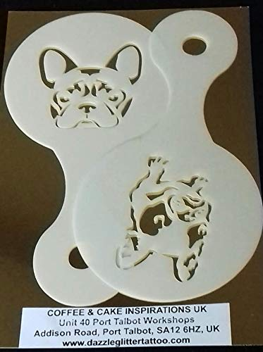 2 x French Bulldog Dog Coffee Cup Stencils Reusable Many Times Cafe Restaurant Pub Frenchie