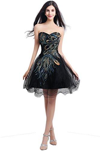 Promgirl House Damen Einzigartig Stickerei A-Linie Cocktailkleider Ballkleider Partykleider Abendkleider Kurz