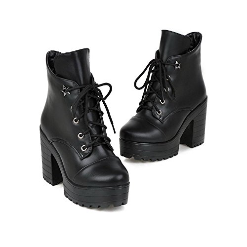 Material Black Soft Top Closed Low WeiPoot Toe Solid Boots Women's Round Heels High SwqU0H