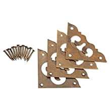 "4 Pcs 1.18"" Brass Flat Corner Bracket Protector for Furniture Hardware Jewelry Box Chest Trunk Case, Antique Brass"