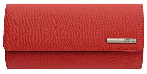 Kenneth Cole Reaction Womens Saffiano Clutch Wallet Trifold W Coin Purse (CORAL)