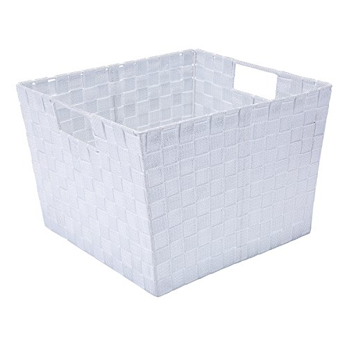 Simplify Large Metallic Striped Woven Storage Bin in White/Silver from Simplify