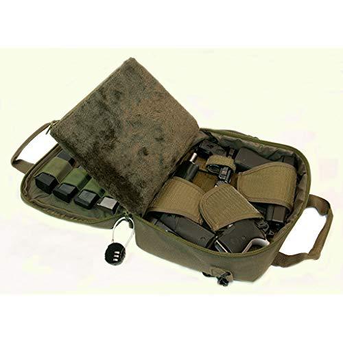 Pistol Case Range Bag for Handguns by FirstChoice Gear - 2 to 4 Gun Padded Tactical Handgun Shooting Soft Case, Lockable Zippers w/Padlock, 3 Mini-Holsters, 8 Mag Slots, 4 Pockets & Range Mat (Green) ()