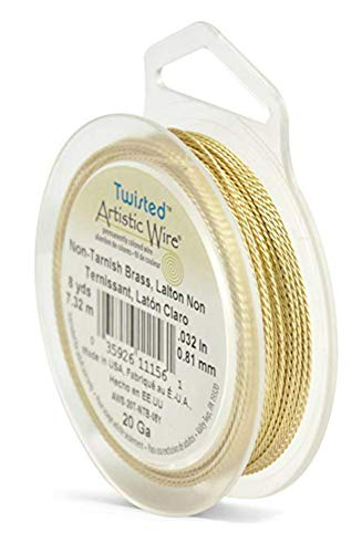 (Artistic Wire 20 Gauge Twisted Non-Tarnish Brass Copper Wire, 8 Yards)