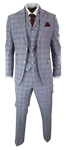 Mens 3 Piece Blue Grey Tailored Fit Complete Suit Classic Check Vintage Retro (Smart Classic Suit)