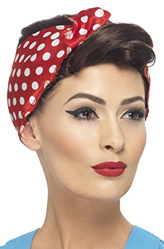 Smiffys Women's 40's Brown Rosie Wig with Polka Dot Headscarf, One Size, 5020570432143