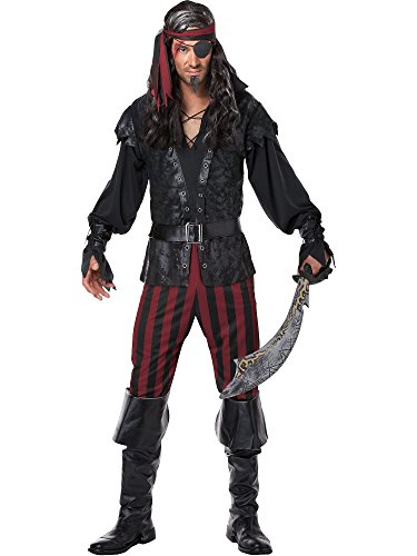 California Costumes Men's Ruthless Rogue Pirate Buccaneer Swashbuckler, Black/Red, (Pirate Costume For Men)
