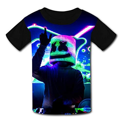 - LOGvvl Youth T-Shirt,Dj Marsh-Mell-o Neon Night Hipster Print Short Sleeve 3D Print Kids Boy Girl Tees M
